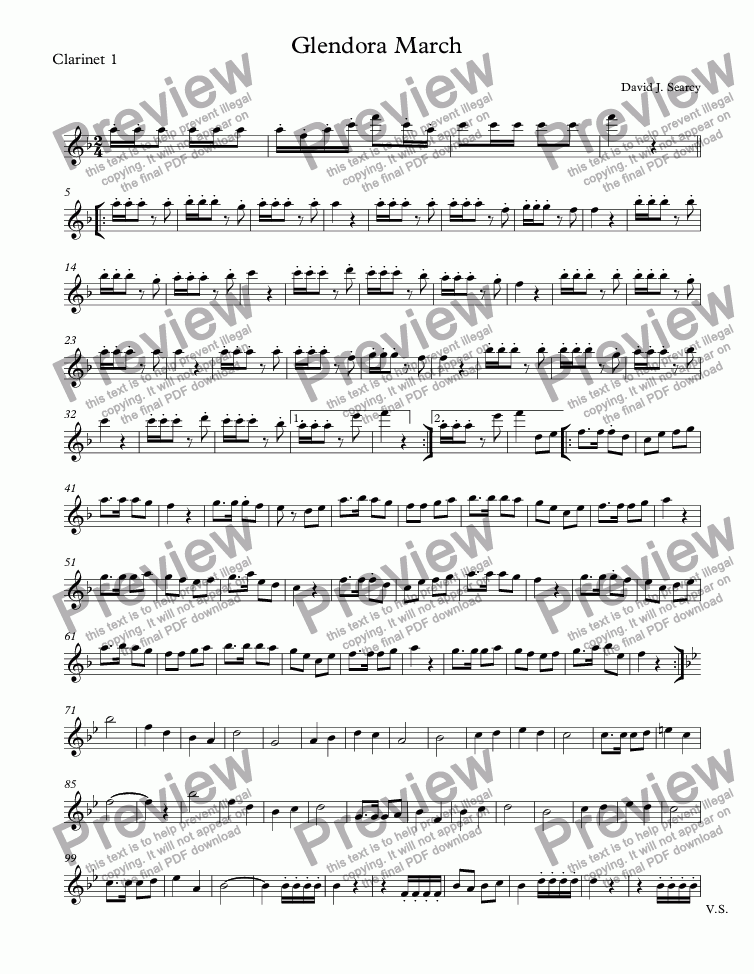 page one of the Clarinet 1 part from Pat's March