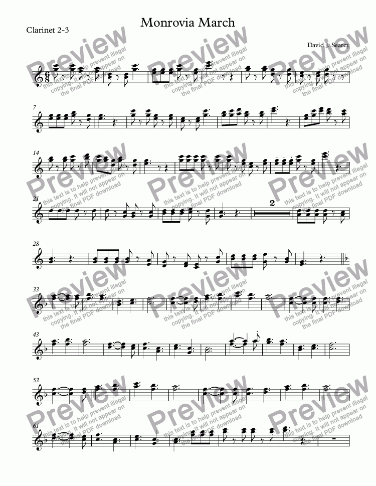 page one of the Clarinet 2-3 part from Monrovia March