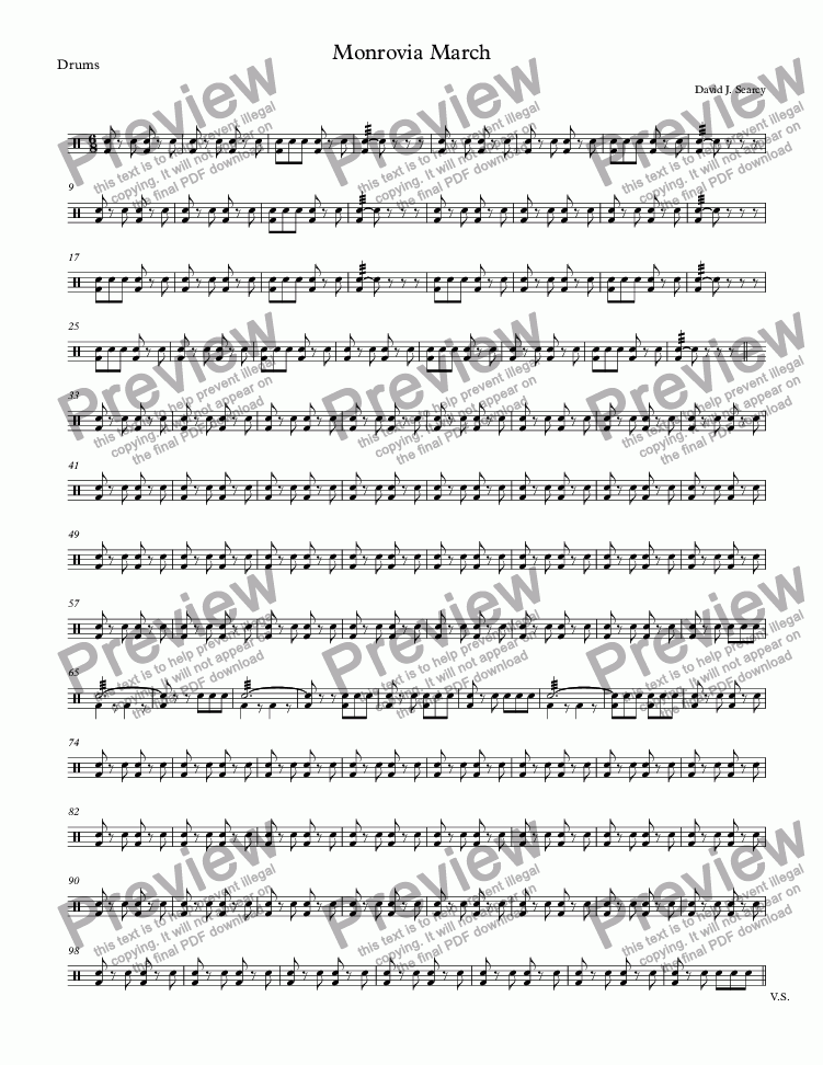 page one of the Drums part from Monrovia March