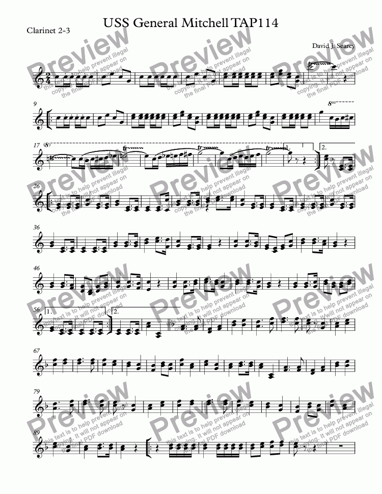 page one of the Clarinet 2-3 part from USS General Mitchell TAP114