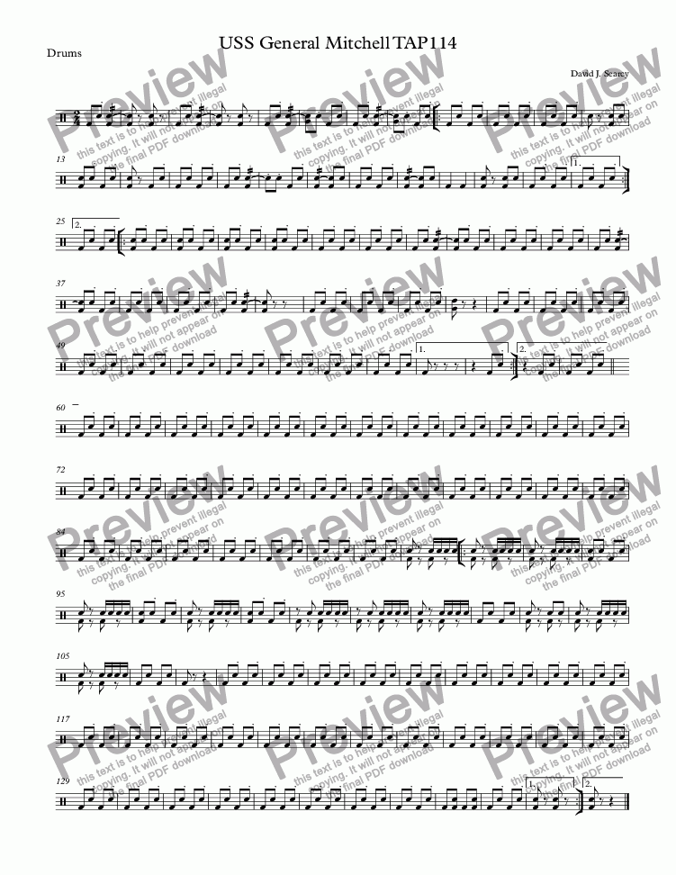 page one of the Drums part from USS General Mitchell TAP114