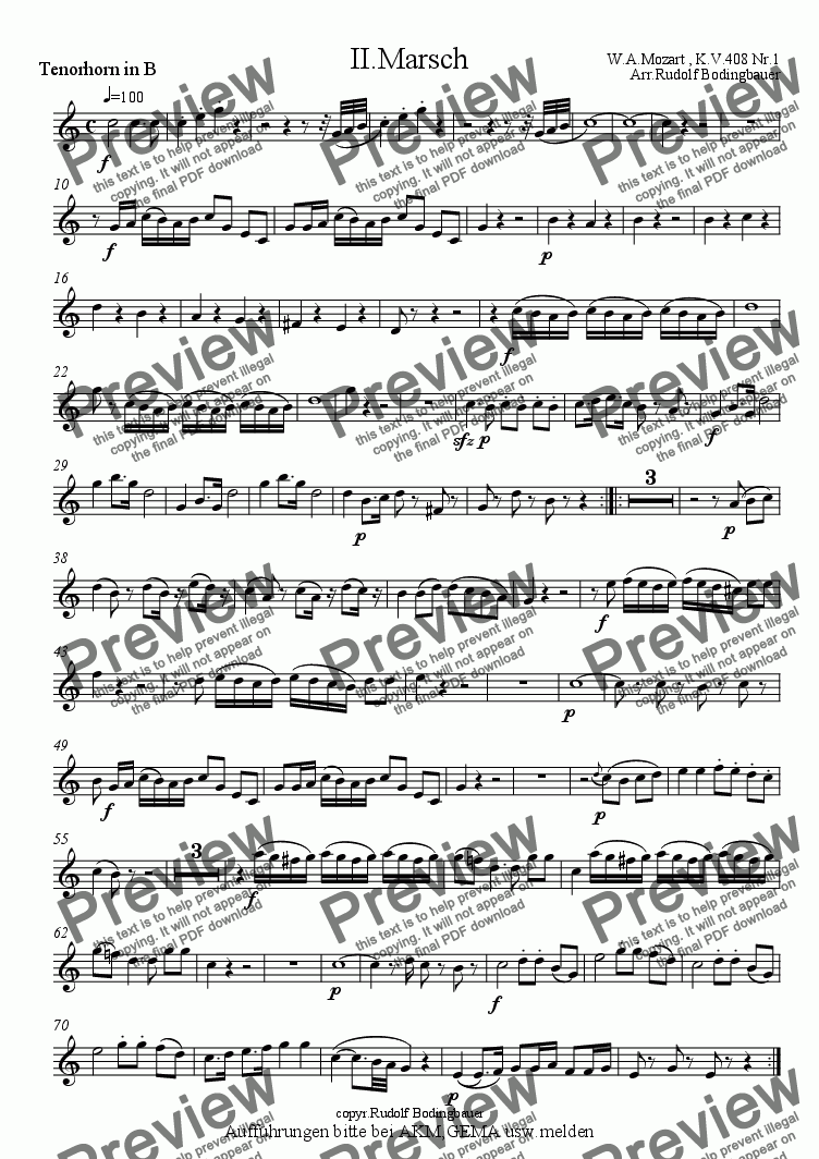 page one of the 1.Tenorhorn in B part from 2.Marsch W.A.Mozart Blasorchester