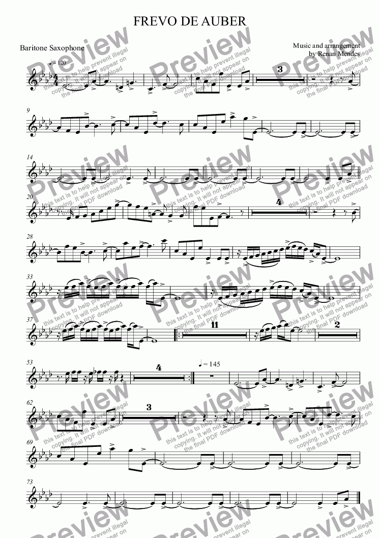 page one of the Baritone Saxophone part from FREVO DE AUBER