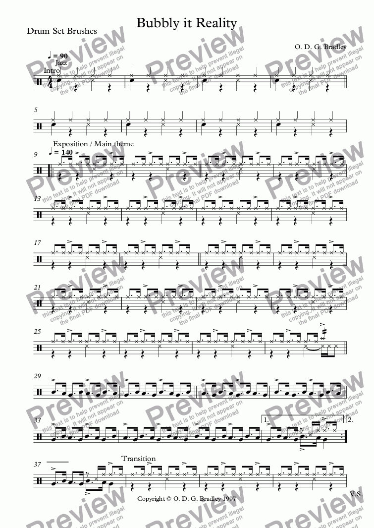 page one of the Drum Set Brushes part from Bubbly it Reality