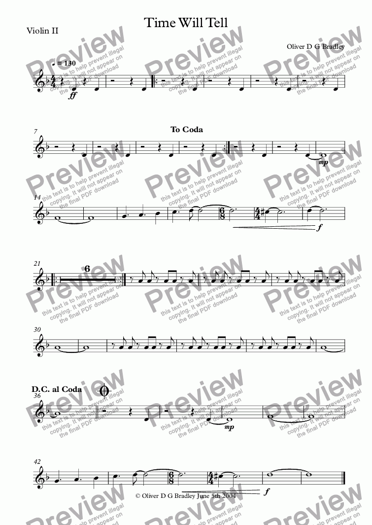 page one of the Violin II part from Time Will Tell