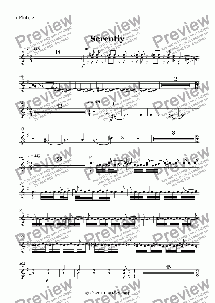 page one of the 1 Flute 2 part from Serentiy