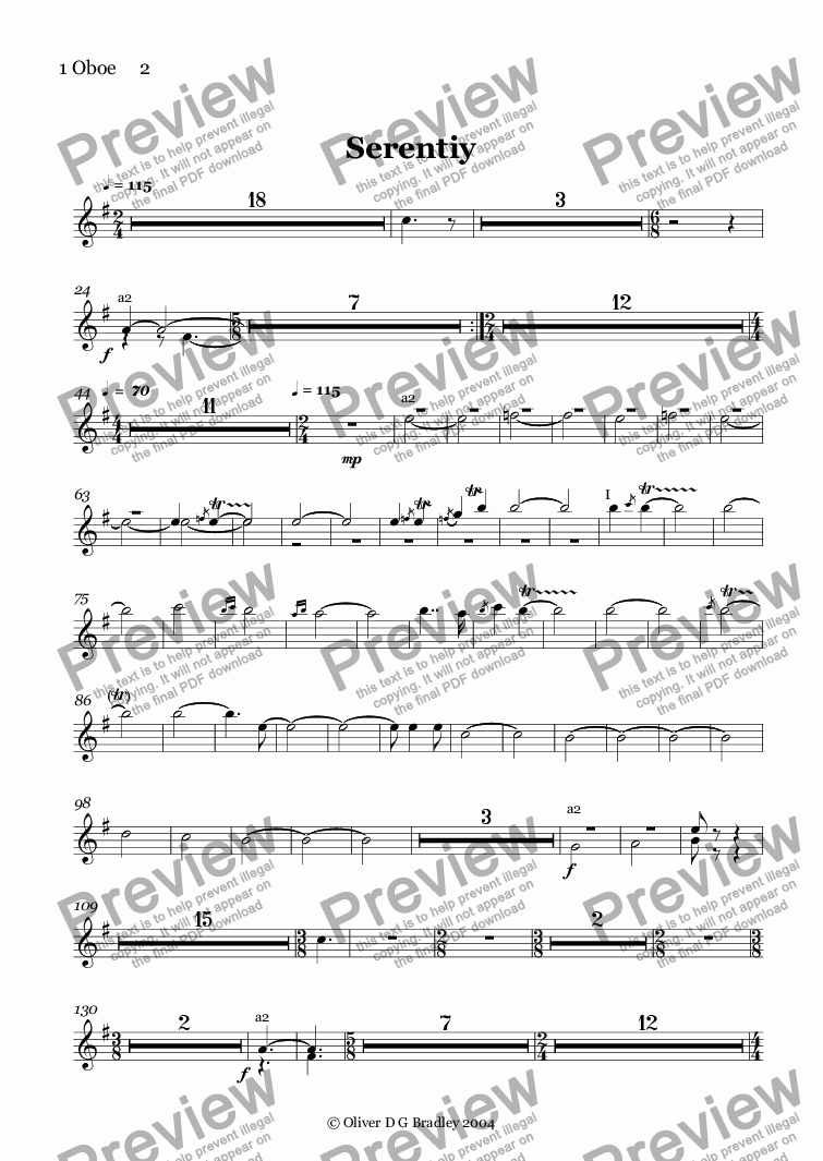 page one of the 1 Oboe     2 part from Serentiy