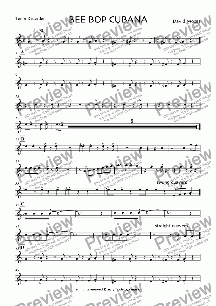 page one of the Tenor Recorder 1 part from BEE BOP CUBANA
