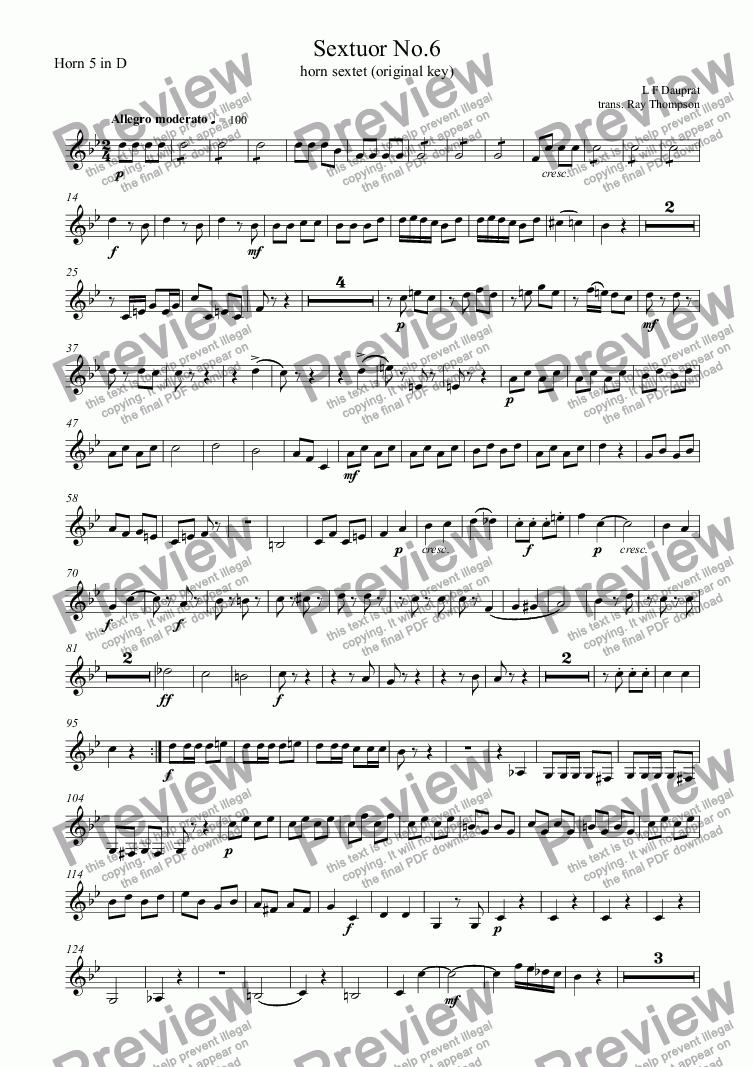 page one of the Horn 5 in D part from Dauprat: Sextuor No.6 (Horn sextet No.6) original key