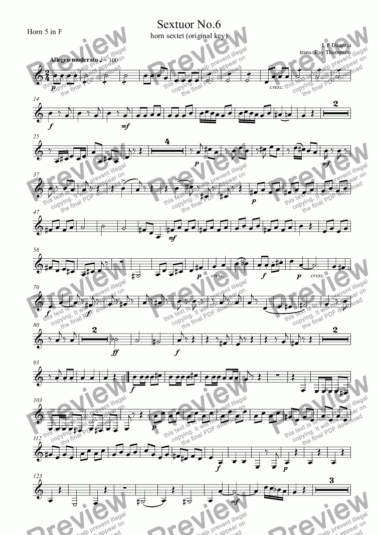 page one of the Horn 5 in F part from Dauprat: Sextuor No.6 (Horn sextet No.6) original key
