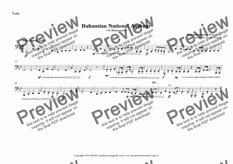 page one of the Tuba part from Bahamian National Anthem (Oh Bahamaland) for Brass Quintet