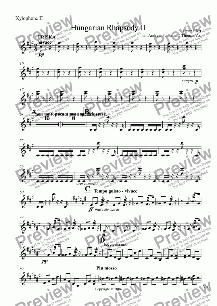 page one of the Xylophone II part from Hungarian Rhapsody II