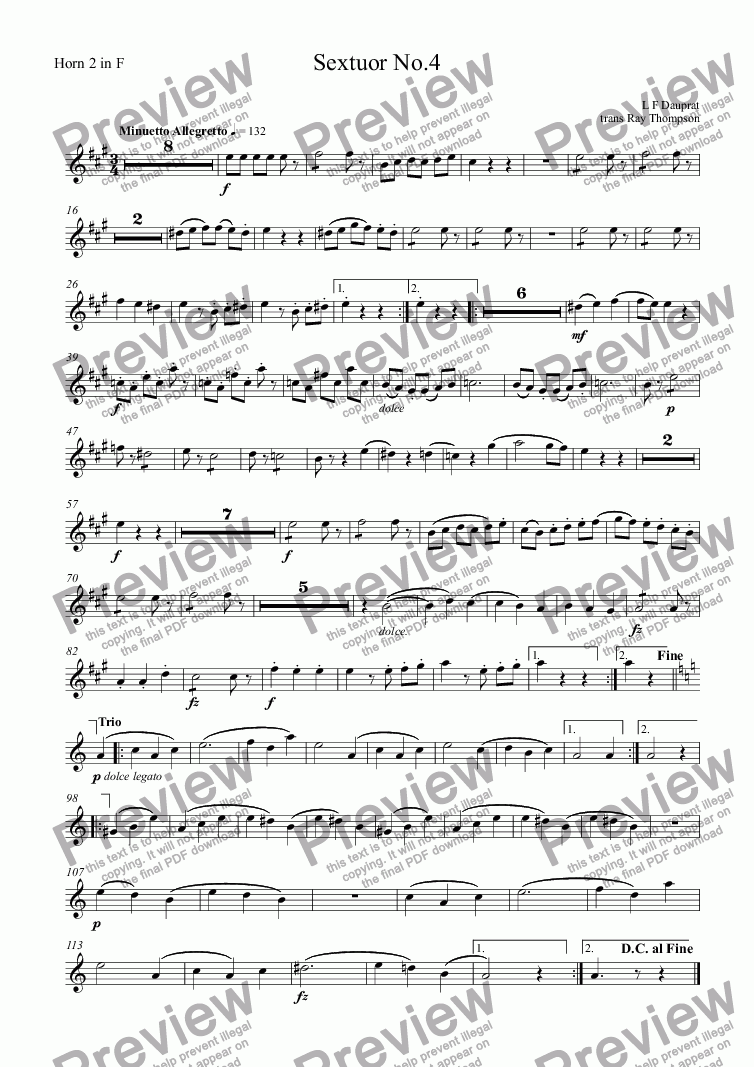 page one of the Horn 2 in F part from Dauprat: Sextuor No.4 (Horn Sextet No.4) (original key)
