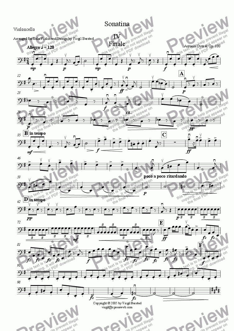 page one of the Violoncello part from Sonatina - IV