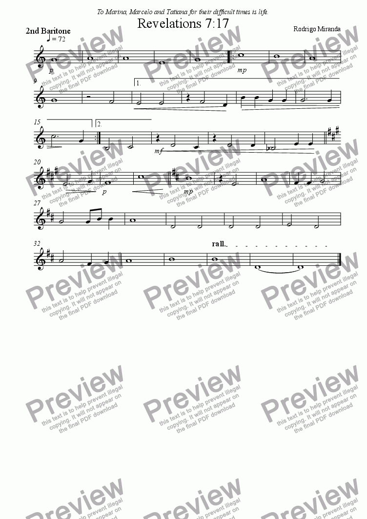 page one of the 2nd Baritone part from Revelations