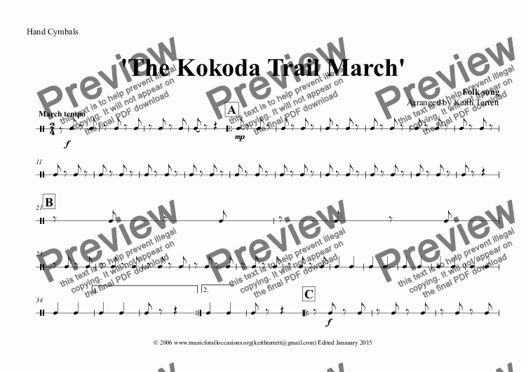 page one of the Hand Cymbals part from Kokoda Trail (The) March for Concert Band (Keith Terrett Classic March Series)