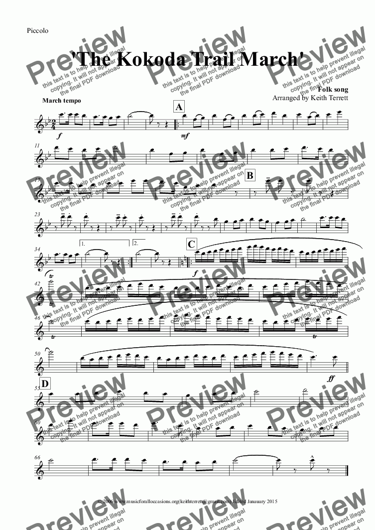 page one of the Piccolo part from Kokoda Trail (The) March for Concert Band (Keith Terrett Classic March Series)