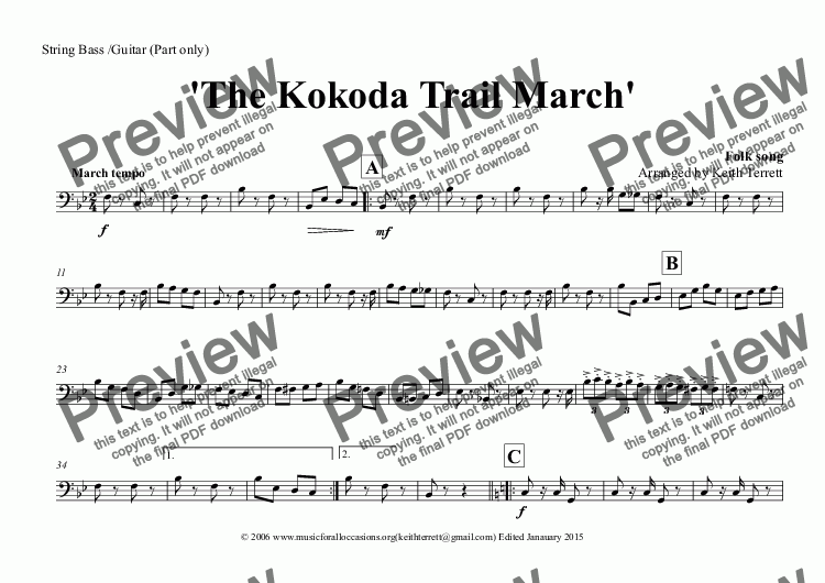 page one of the String Bass /Guitar (Part only) part from Kokoda Trail (The) March for Concert Band (Keith Terrett Classic March Series)
