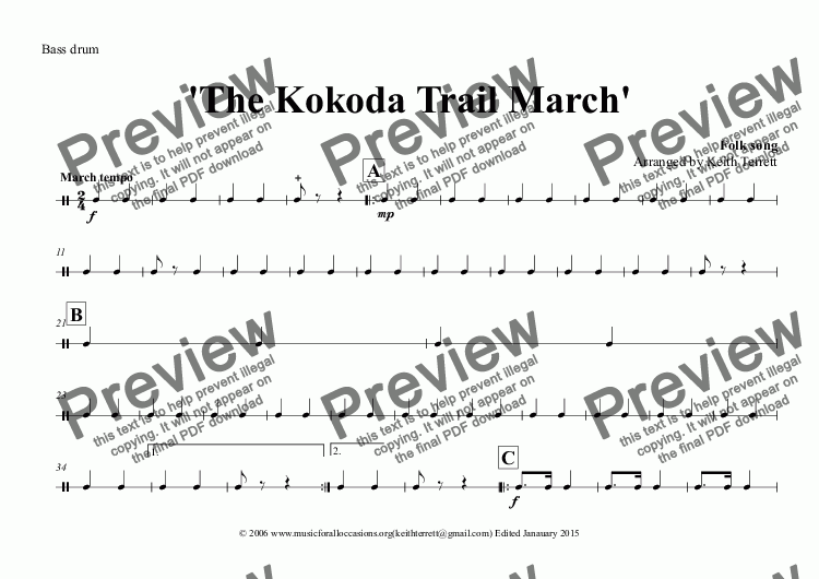 page one of the Bass drum part from Kokoda Trail (The) March for Concert Band (Keith Terrett Classic March Series)