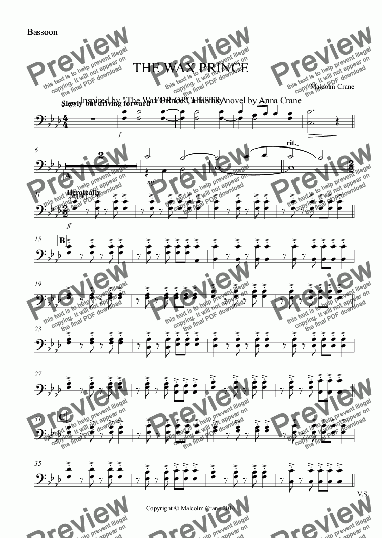page one of the Bassoon part from THE WAX PRINCE