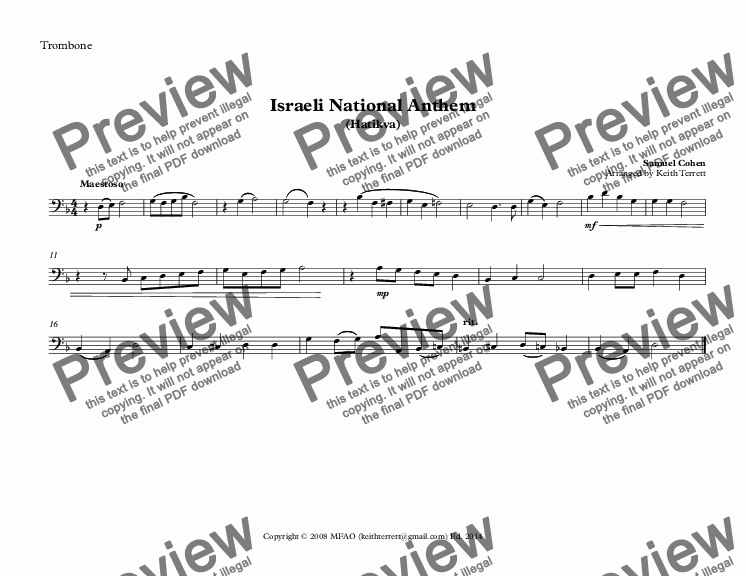 page one of the Trombone part from Israeli National Anthem for Brass Quintet (Hatikvah) - (World National Anthem Series)
