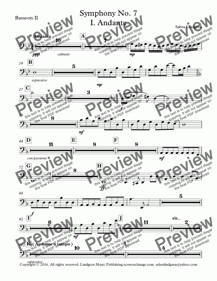 page one of the Bassoon II part from Symphony No. 7 I. Andante