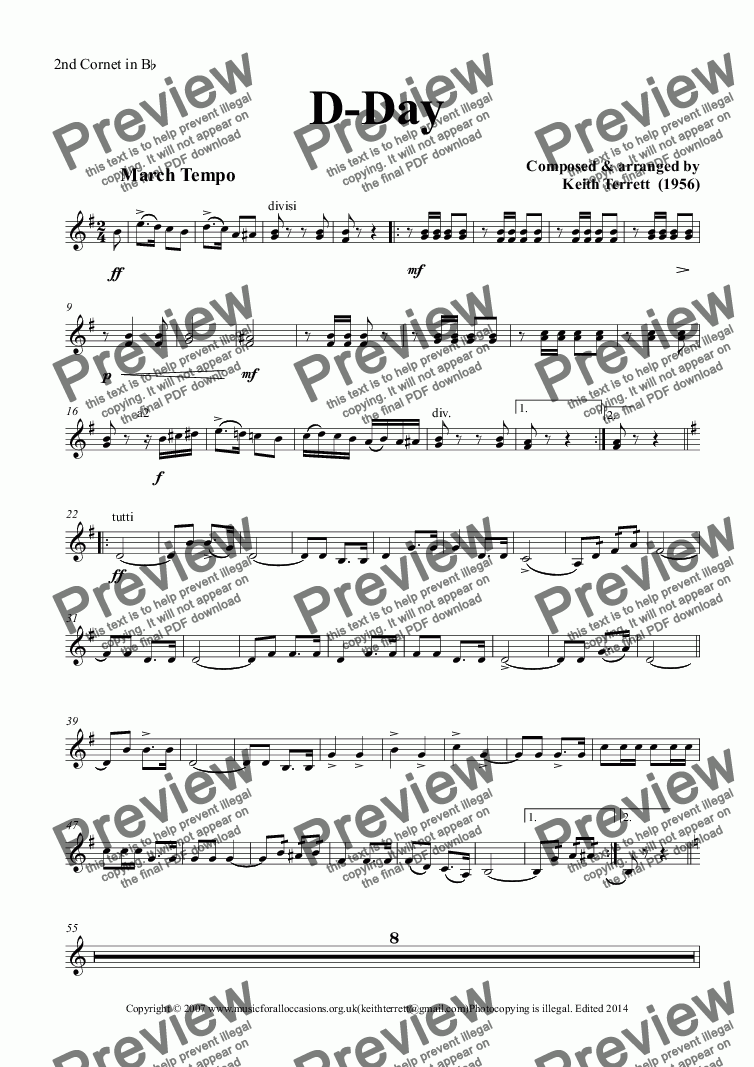 page one of the 2nd Cornet in B^b part from D-Day March  for Brass Band (British Style)