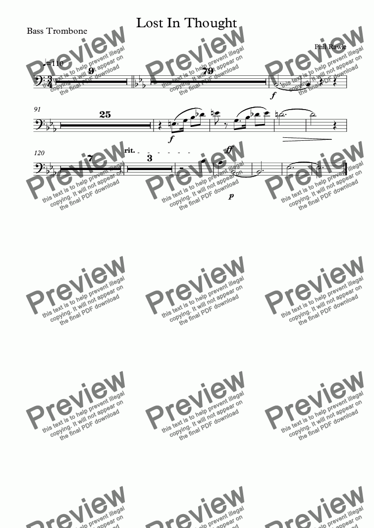 page one of the Bass Trombone part from Lost In Thought - Orchestral