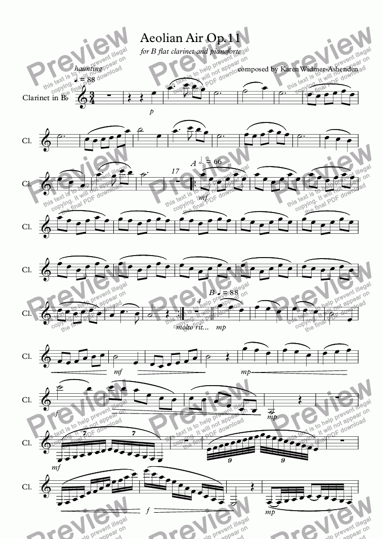 page one of the Clarinet in Bb part from Aeolian Air Op.11