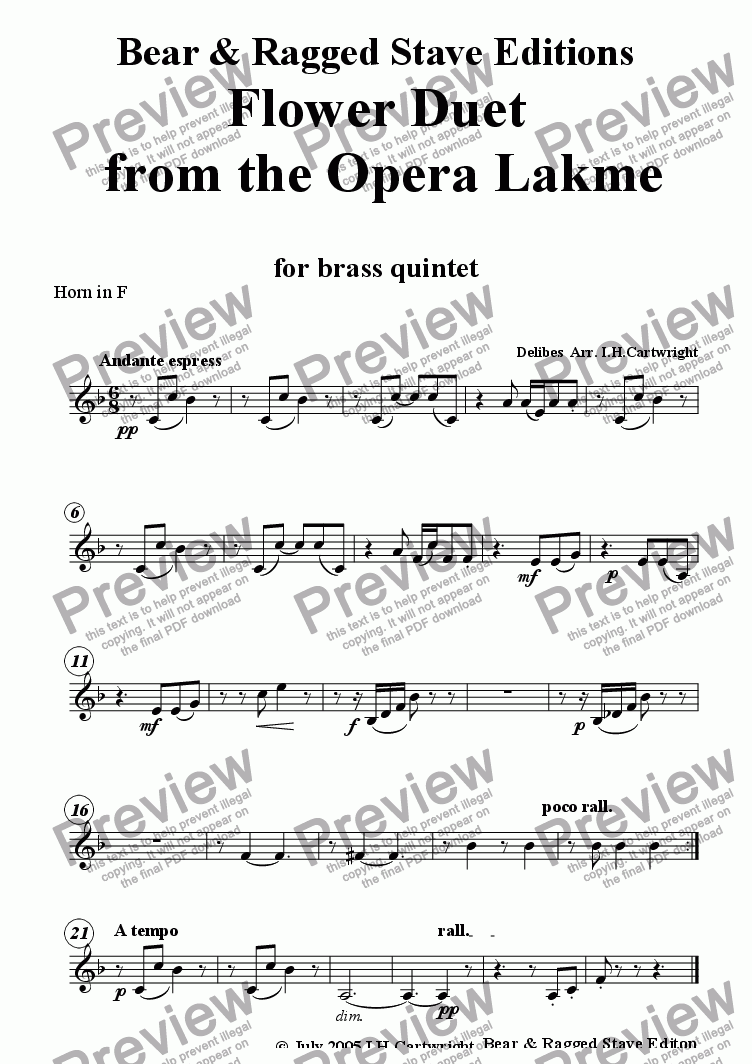 page one of the Horn in F part from Flower Duet from the opera Lakme  for brass quintet