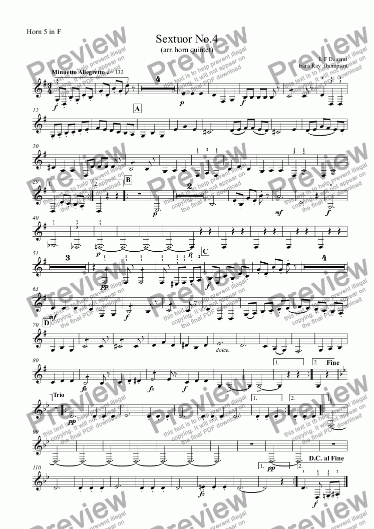 page one of the Horn 5 in F part from Dauprat: Sextuor No.4 ( horn sextet no.4) arr. horn quintet)