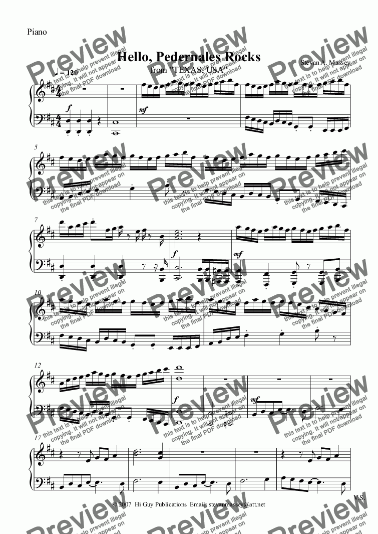 page one of the Piano part from Hello, Pedernales Rocks
