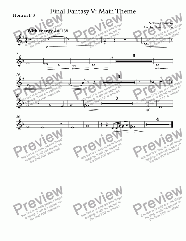 page one of the Horn in F 3 part from Final Fantasy V: Main Theme