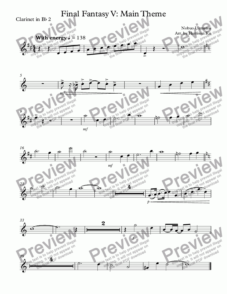 page one of the Clarinet in B^b 2 part from Final Fantasy V: Main Theme