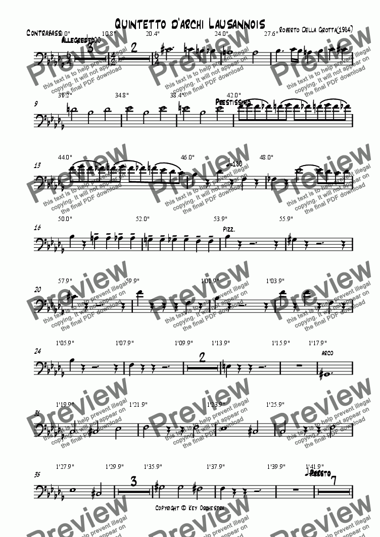 page one of the Contrabass part from Quintetto d'archi Lausannois