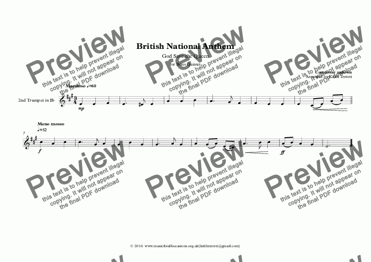 page one of the 2nd Trumpet in Bb part from God Save the Queen (British National Anthem) for Brass Quintet (World National Anthem Series)