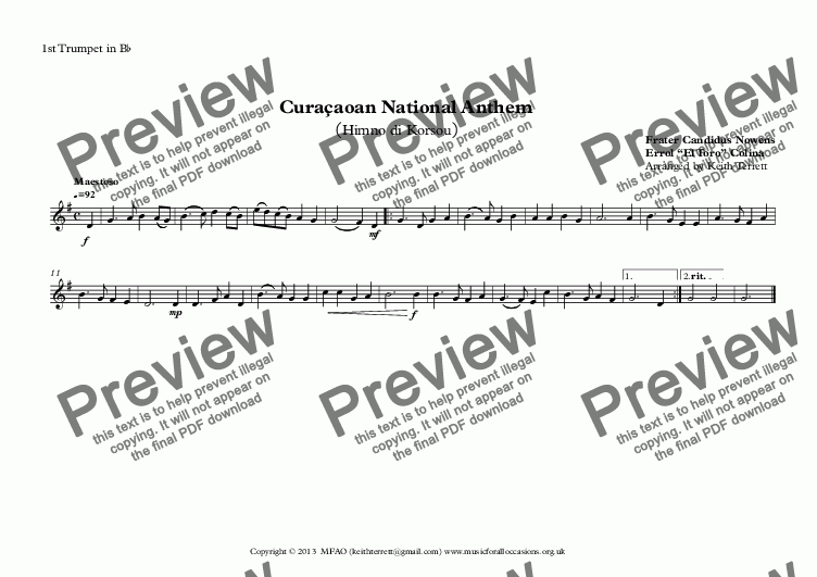 page one of the 1st Trumpet in B^b part from Curaçaoan National Anthem (Himno di Korsou) for Brass Quintet MFAO World National Anthem Series MFAO World National Anthem Series