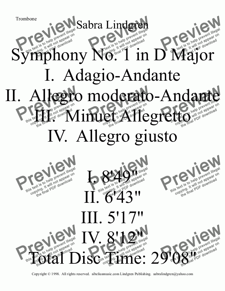 page one of the Trombone part from Symphony No. 1 in D Major, I. Adagio-Andante