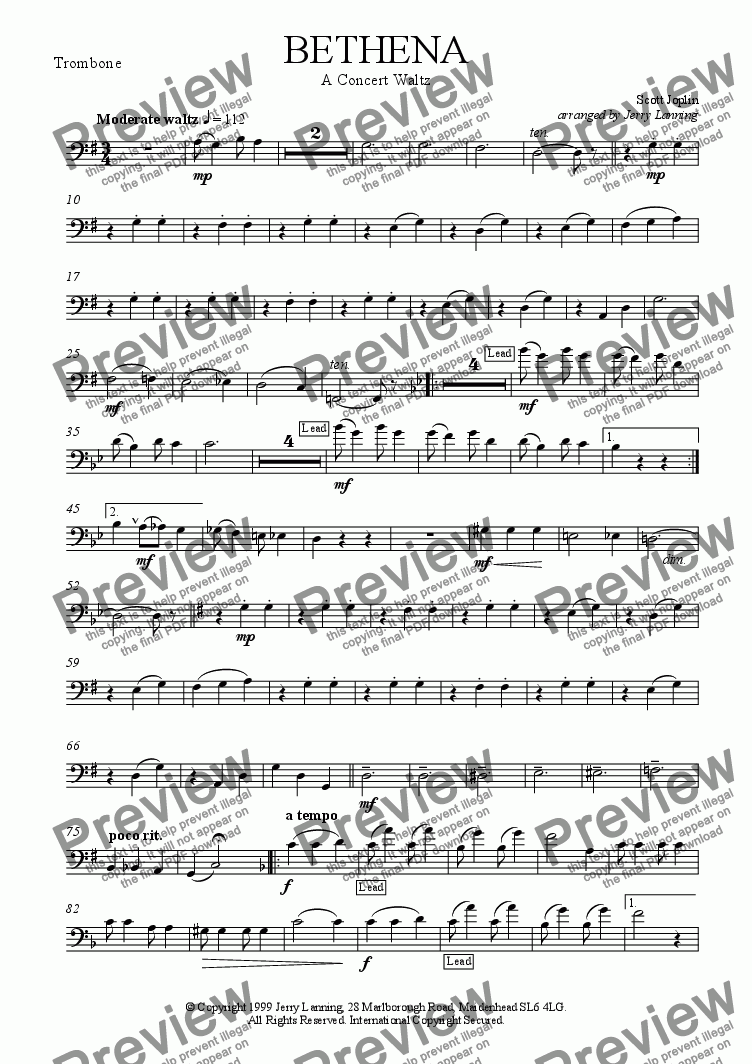 page one of the Trombone part from Bethena - Joplin (brass quintet)