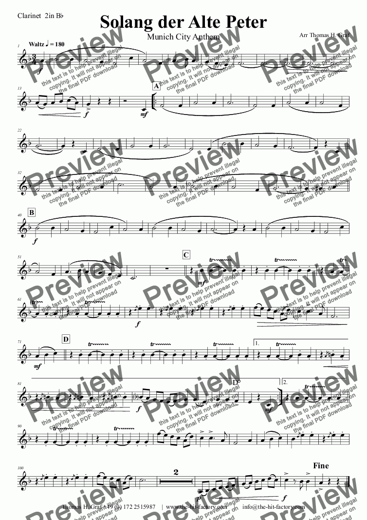 page one of the Clarinet  2in B^b part from Solang der alte Peter - Munich City anthem - Concert Band