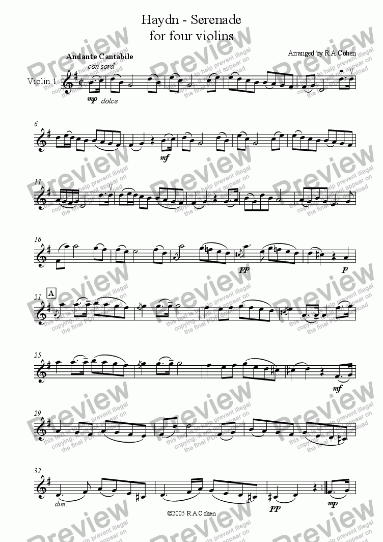 page one of the violin 1 part from Haydn - SERENADE - for violin quartet