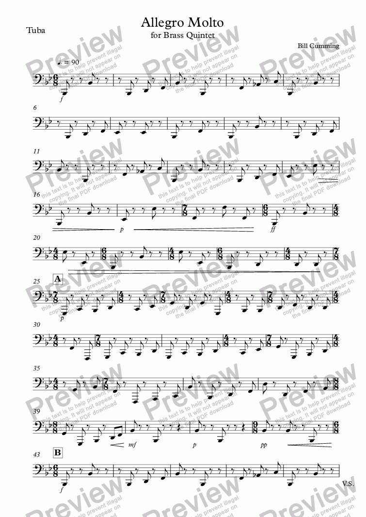 "page one of the Tuba part from ""Allegro Molto"" for brass quintet"