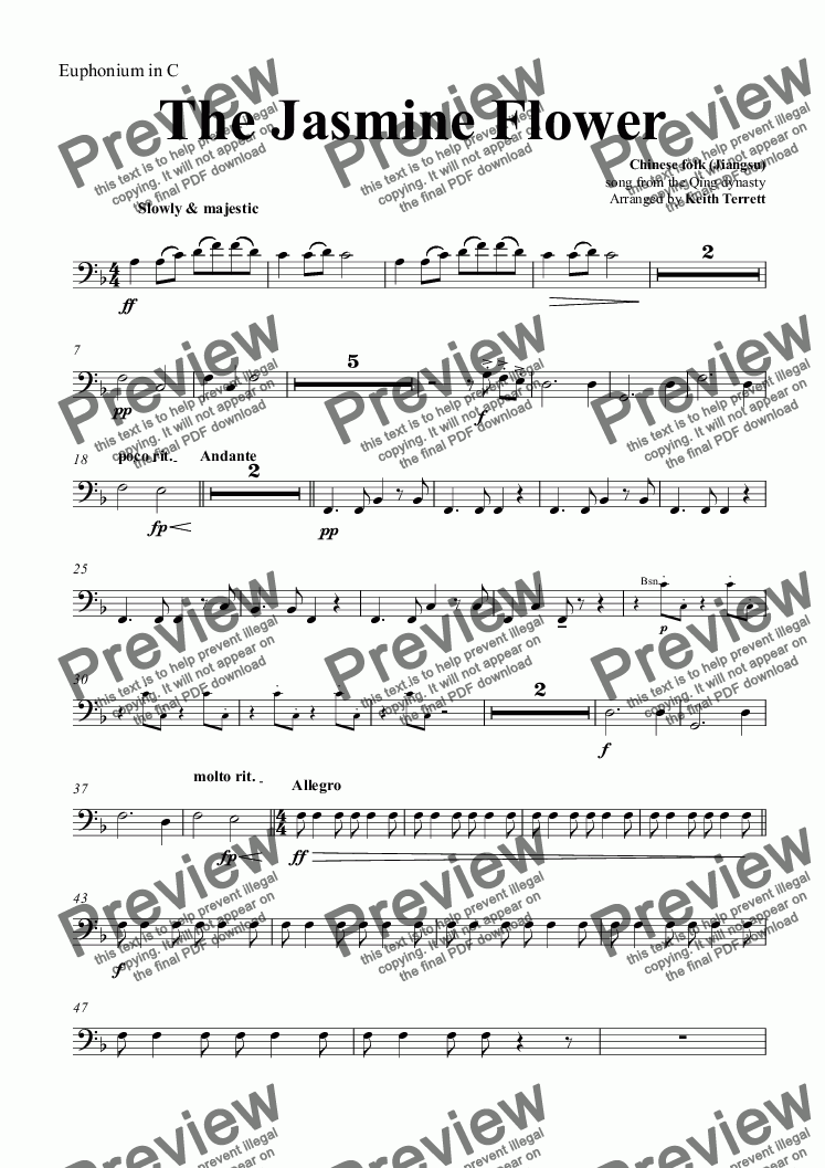 page one of the Euphonium in C part from Jasmine Flower (The) for solo Violin & Concert Band (Keith Terrett Classic Band Series)