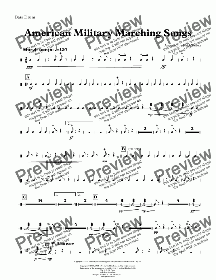 page one of the Bass Drum part from American Military Marching Songs for Concert/Wind Band (Keith Terrett Classic March Collection)