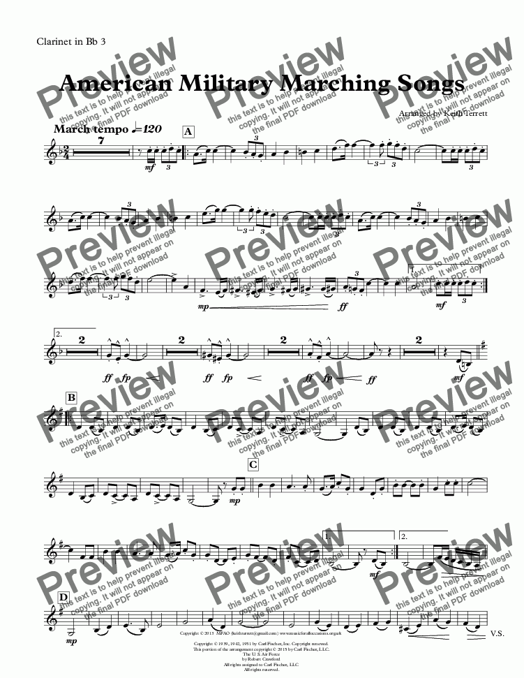 page one of the Clarinet in Bb 3 part from American Military Marching Songs for Concert/Wind Band (Keith Terrett Classic March Collection)