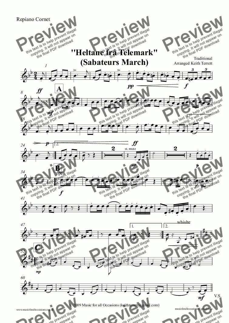 "page one of the Repiano Cornet part from Heroes of Telemark  (The) - ''Heltane frå Telemark"" (Sabateurs March)for Brass Band (Keith Terrett Classic March Collection)"