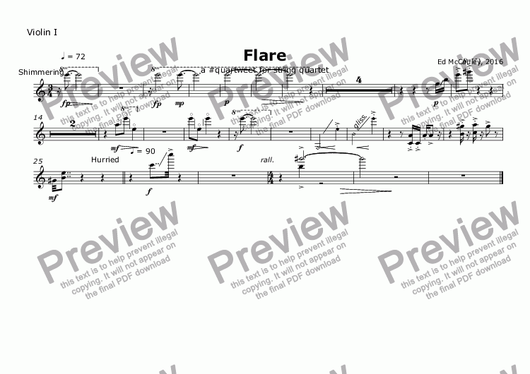 page one of the Violin I part from Flare
