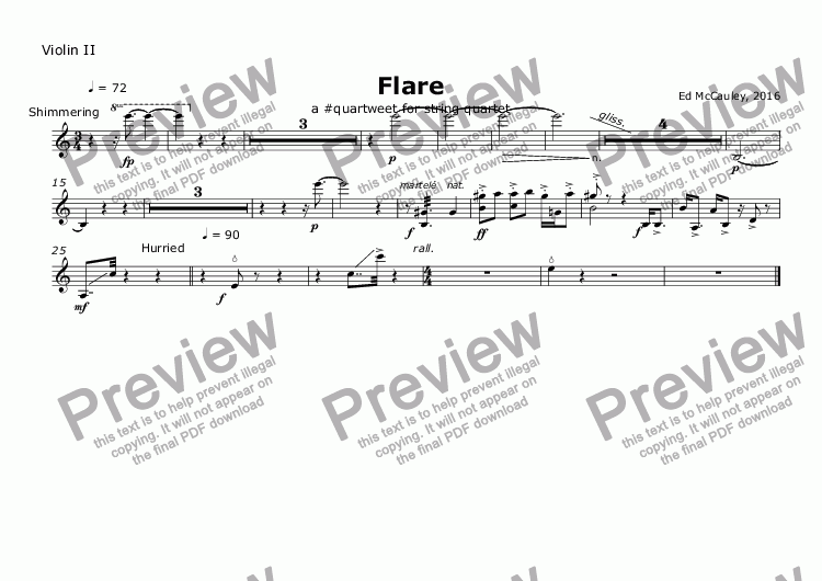page one of the Violin II part from Flare
