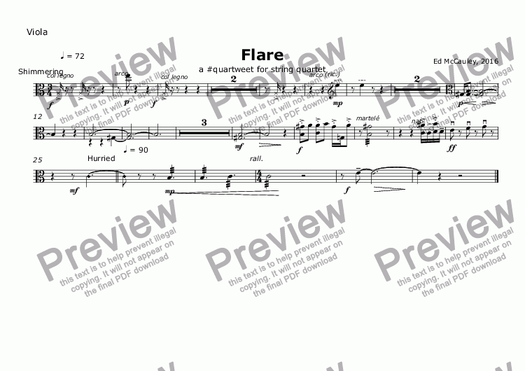 page one of the Viola part from Flare