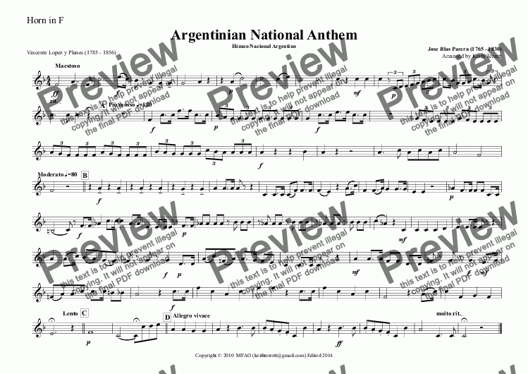 page one of the Horn in F part from Argentinian National Anthem for Brass Quintet (World National Anthem Series)